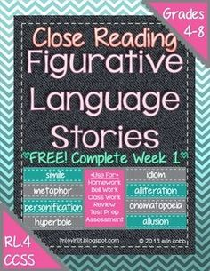 6 original reading passages for teaching and reviewing figurative language: simile, metaphor, hyperbole, personification, alliteration, onomatopoeia, idiom, and allusion.