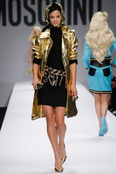 Chic ...Classic Black Dress with A Glorious Golden Coat..Moschino Spring 2015 RTW – Runway – Vogue