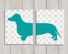 Dachshund Art Print Modern Dog Art Teal 8x10 by HappyTailPrints, $25.00