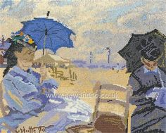 Buy Claude Monet - The Beach at Trouville Cross Stitch Kit Online at www.sewandso.co.uk