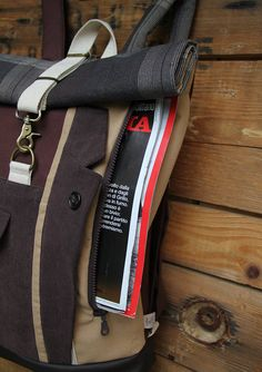 Brown upcycled rolltop rucksack using the front pocket of a corduroy men's suit & with an extra opening on the front for easy access to your stuff, by 'eating the goober'