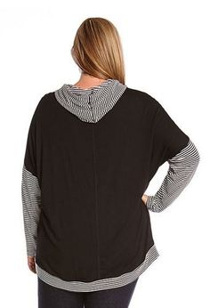Comfy Sporty Style Striped Hoodie from Karen Kane, designed with drop shoulders and a Cool Black Contrast Back.  #Black_and_White #Stripes #Sporty #Contrast #Color #Hoodie #Plus #Size #Workout #Clothing #Activewear #Fashion
