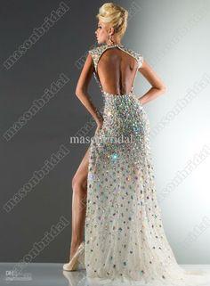 V-neck Full of Colorful Beads Crystal Chiffon Evening Dress