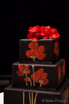 Tattoo inpired Black #Wedding cake- designed by #White Rose Bakery