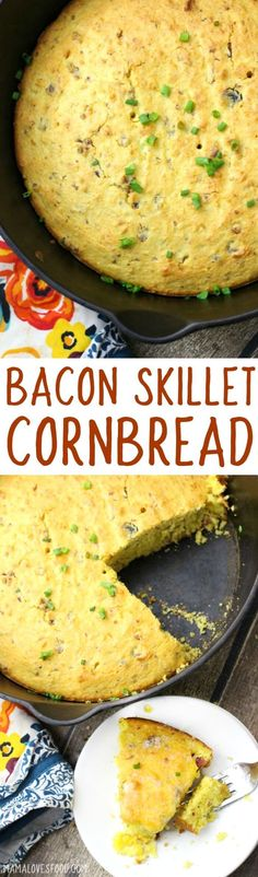 came out so moist! OMG YUM, will definitely make again! - easy cast iron cornbread skillet with bacon came out so moist! OMG YUM, will definitely make again! - easy cast iron cornbread skillet with bacon Bacon Recipes, Fall Recipes, Great Recipes, Cooking Recipes, Favorite Recipes, Cornbread Recipes, Skillet Recipes, Skillet Meals, Amazing Recipes