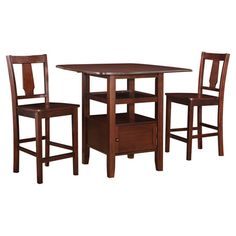 Crafted from rubberwood and showcasing a dark walnut finish, this classic pub table set is perfect for enjoying a late breakfast or afternoon cup of tea. 2 o...