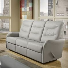 Relaxon Avery Sofa Type: Power, Upholstery: Leather - Dark Grey