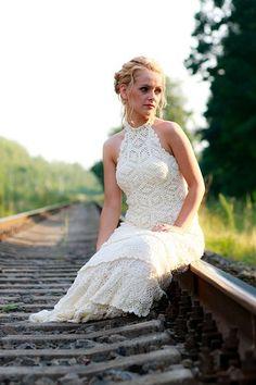 Vestido de novia en ganchillo. Crochet Bridal dress.