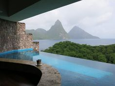 yes, this is the view from the private infinity pool in your room. This photo clearly illustrates 'picture is worth a thousand words' saying. www.cosmopolitantravels.com Jade Mountain, Caribbean, Infinity, Places To Visit, Shades, World, Building, Outdoor Decor, Room