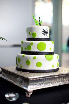 chartreuse polka-dot wedding cake - photo by Melissa Jill Photography