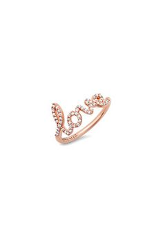 The Diamond LOVE ring in Rose Gold by Avanessi at CoutureCandy.com
