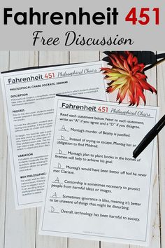 Free Fahrenheit 451 Lesson Plan and Discussion Activity! Engage students in your Fahrenheit 451 Unit Plan with a kinesthetic Philosophical Chairs discussion! Discussions are passionate and well-reasoned. High School Literature, Teaching Literature, English Language, Language Arts, Creative Teaching, Teaching Tools, English Teaching Resources, Fun Classroom Activities, School Essay