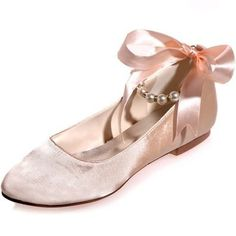 FaveBridal Bow and Pearl Ballet Flats | 42 Pairs Of Wedding Flats To Keep You Comfy & Cute On Your Big Day