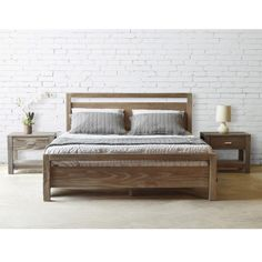 This sleek modern design features a platform bed construction made of 100-percent solid pine wood from Southern Brazil. The Loft Queen platform bed has a sturdy frame construction that can last for years.