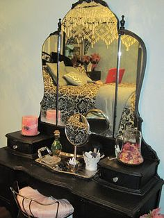 Dressing table.  No matter how old you are, doing your makeup here makes you feel like a princess.