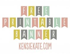 Free printable banners in mint, coral, grey and mustard ...