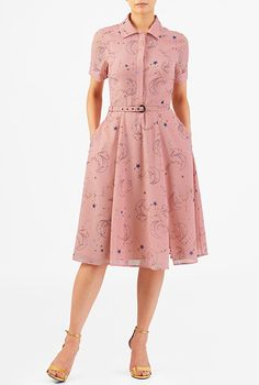I <3 this Sky print belted georgette shirtdress from eShakti