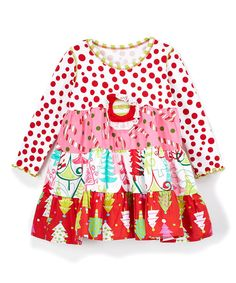 Pink & Red Christmas Tier Dress - Toddler & Girls