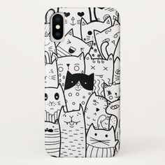 Black and white doodle cats iPhone x case Custom Brandable Electronics Gifts for your buniness #electronics #logo #brand