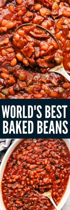 World's Best Baked Beans will be the last recipe you will ever make! These easy homemade baked beans are the perfect side to a potluck and a tried and true family recipe! # Easy Recipes for potluck World's Best Baked Beans Baked Beans From Scratch, Canned Baked Beans, Baked Beans Crock Pot, Slow Cooker Baked Beans, Homemade Baked Beans, Beans In Crockpot, Baked Bean Recipes, Bbq Beans, Beans Recipes