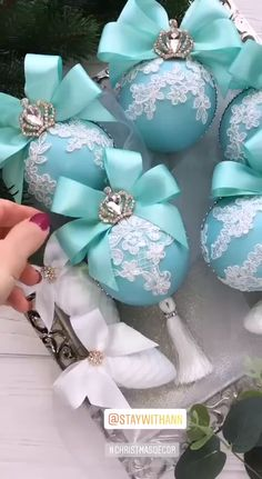 Christmas Ornaments Set Tiffany Christmas Ornament Turquoise Christmas ornaments Elegant Christmas You can find Orna. Turquoise Christmas, Pink Christmas, Christmas Holidays, Christmas Bulbs, Elegant Christmas Trees, Victorian Christmas Ornaments, Christmas Mantles, Cone Christmas Trees, Swedish Christmas