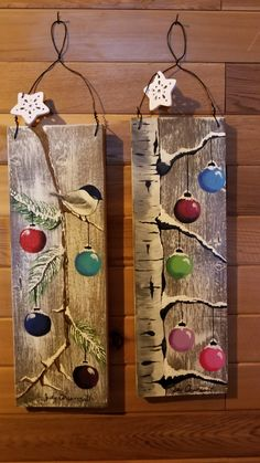 Rustic Christmas Crafts, Christmas Ornament Crafts, Christmas Signs, Homemade Christmas, Christmas Art, Christmas Projects, Holiday Crafts, Palette Deco, Painting Classes