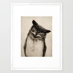 owl sketch framed art print vector white frame 20x26 baxton studio iona mid century retro modern