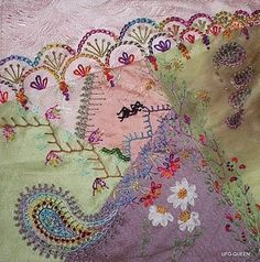 love some of the embroidery. Fans at top, 'paisley' swirl.