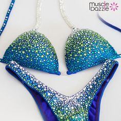 9f42c5b3d787f Figure Posing Suit - Striking Blue   Green Crystals Figure Competition Suits