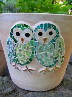 You can find Mosaic pots and more on our website. Owl Mosaic, Mosaic Garden Art, Mosaic Flower Pots, Mosaic Birds, Mosaic Crafts, Mosaic Projects, Stained Glass Projects, Stained Glass Art, Mosaic Ideas