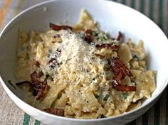 When it comes down to it, my favorite food is pasta. And if you held a gun to my head, I'd probably say that carbonara is my favorite pasta. I love its creaminess-with-no-cream, the chewy, salty bits of bacon, the roundness of Parmesan, the bite of black pepper. So it's not with any flippancy that I say that this recipe reminds me of carbonara, and in the best of possible ways. It's creamy, bacony, and satisfying—yet it's also a lot lighter and more fitting for summer.