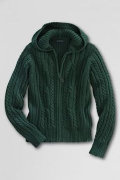 Girls' Cable Hooded Sweater from Lands' End