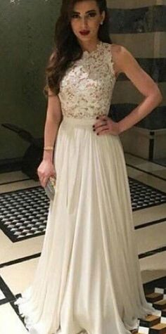 Diyouth.com A-line Lace Top High Neck Chiffon Long Prom dress-Elegant Sleeveless Prom Dress, lace prom dresses, lace evening dresses, lace party dresses bridesmaid dress