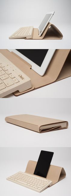 Protection pouch for your Orée Board that also serves as an ergonomic stand for tablet or smartphone. Available in genuine or recycled leather. Specifically designed for the Orée Board: cannot be used as a protection pouch for iPad or other tablet.