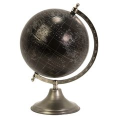 Globe in black and silver with a nickel-finished stand  Product: Globe décorConstruction Material: Galvanized i...