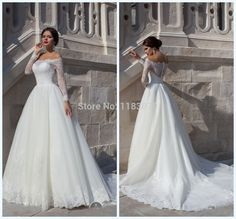Sassy Tulle Lace Appliques Design A Line Wedding Dresses 2015 Bateau Long Sleeves Backless Court Train Bridal Wedding Gown