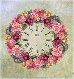 Imprimolandia: Esferas de reloj para imprimir Clock Craft, Diy Clock, Decoupage Vintage, Decoupage Paper, Clock Printable, Rose Design, Colorful Pictures, Vintage Flowers, Vintage Prints