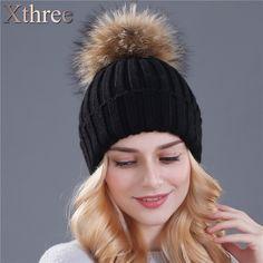 Xthree mink and fox fur ball cap pom poms winter hat for women girl 's hat knitted  beanies cap brand new thick female cap *** Encontrar más información haciendo clic en la imagen