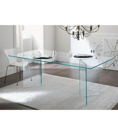 BURANO 180 x 90 de jantar mesa de vidro transparente