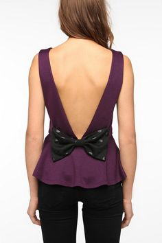 Urban Outfitters - Pins and Needles Bow Back Peplum Tank Top