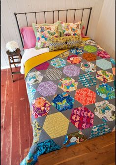 Rosalie quilt with giant hexagons by Valori Wells