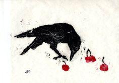 One Pink Goose: Textiles and Linocuts Crow Bird, Crows Ravens, Teaching Art, Rug Hooking, Bird Art, Moose Art, Textiles, Carving, Birds