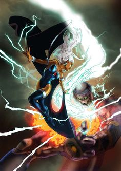 Storm VS Sentinel by Timothy Laskey Comic Book Characters, Marvel Characters, Comic Character, Comic Books, Storm Marvel, Marvel Comics, Storm Xmen, Black Panther Storm, Hero Time