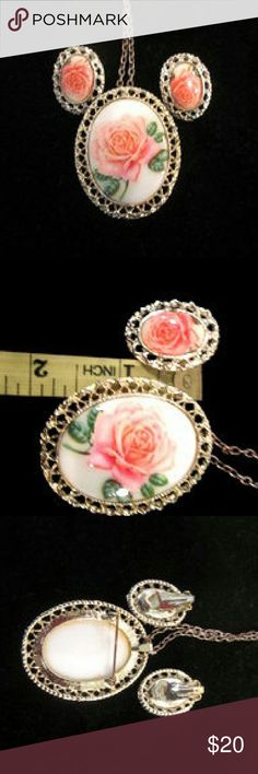 Vintage Rose Cameo Necklace and Earrings Vintage Rose Cameo Necklace Brooch Earring Jewelry Set. 1 Set Clip-On Earrings 1 Necklace with Brooch Pin Back. A Beautiful Romantic Girly Set. Wonderful Condition. Vintage Jewelry Necklaces