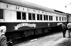 """On Nov. 15, 1947, the Friendship Train stopped in Allegheny County. It collected donated food for transport to France & Italy, providing desperately needed assistance in the aftermath of WWII. Left Los Angeles on Nov. 7 & made stops across U.S., ending in NYC. The """"Friend Ship"""" carried cargo to Le Havre, France. Original goal was to collect 80 train cars of food, but ultimately collected more than 700 cars valued at more than $40 million (in excess of $406 million in today's money)."""