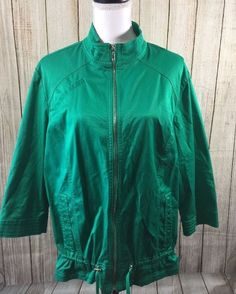 Zenergy By Chico's 3 Woman's Green 3/4 Sleeve Lightweight Jacket. Size L/XL #Chicos #BasicJacket #Any