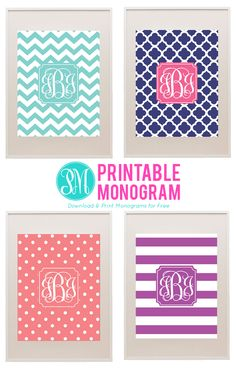 Free printable Monogram I found from http://forchicsake.com/printablemonogram-com/