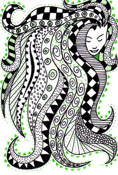 For the Zentangle Swap on Swap-bot   Female head - with zentangle hair/dreamscape. All in pen, on white card  Quite enjoyed this - she was my second ever zentangle, I think I'll do some more ^^