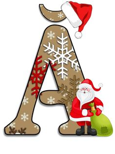 Litere cu Moş Crăciun - Logorici Christmas Decorations, Christmas Ornaments, Holiday Decor, Christmas Alphabet, Christmas Scrapbook, Illustrations And Posters, Letters And Numbers, Baby Gear, Body Art
