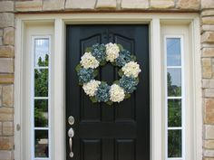 Summer Wreaths Blue Hydrangea Wreath Spring by twoinspireyou
